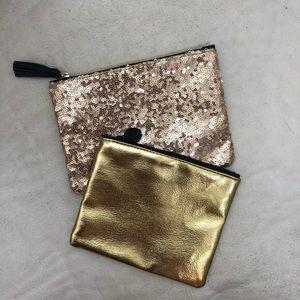 Ipsy Gold Sparkly & Metallic Makeup Bags